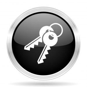 53845412 - keys black metallic modern web design glossy circle icon