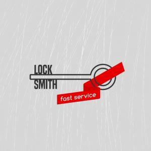 54644879 - locksmith vector logo, icon. locksmith word is a part of key shape